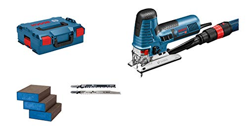 Bosch Professional Stichsäge GST 160 CE (800 Watt, inkl. Absaugadapter, Abdeckhaube, 3x Sägeblätter, 3x Schwämme, in L-BOXX 136) - Amazon Edition