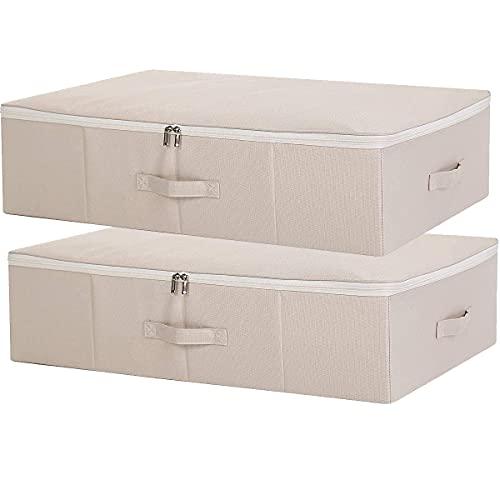 SimpleHome Pure | Cajas de almacenaje bajo cama de yute planas | Beige | Set de 2 | Bolsas almacenaje rígidas para ropa, mantas, Ropa de Cama, 70 x 43 x 18 cm.