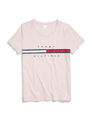 Tommy Hilfiger Damen with Magnetic Buttons Signature Stripe Tee T-Shirt, rosa - Soft pink, Groß