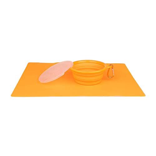 HUI JIN Ollapsible Pet Dog Bowl con tapa taza plato para alimentación de agua portátil viaje silicona naranja