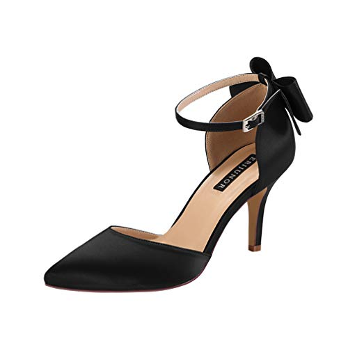 ERIJUNOR E1876B Wedding Evening Party Shoes Comfortable Mid Heels Pumps with Bow Knot Ankle Strap Wide Width Satin Shoes Black Size 9