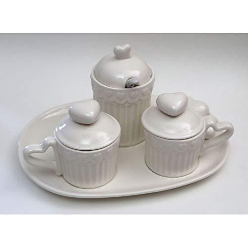 Publilancio srl Set 2 Tazzine Caffe con zuccheriera Piatto Cuore Porcellana BOMBONIERA