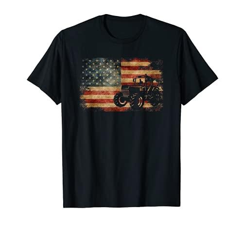 Vintage Farm Tractor Bandera Americana Patriotic Farming USA Camiseta