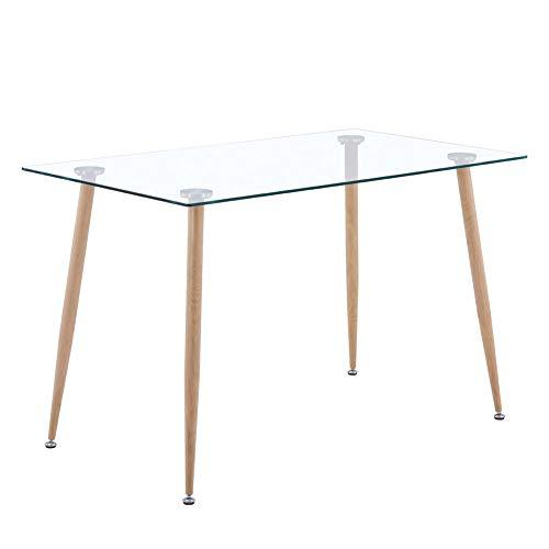 GOLDFAN Esstisch aus Glas Rechteckiger Moderner Esstisch Küchentisch Mit Metallbeine für Wohnzimmer Esszimmer Büro, Braun