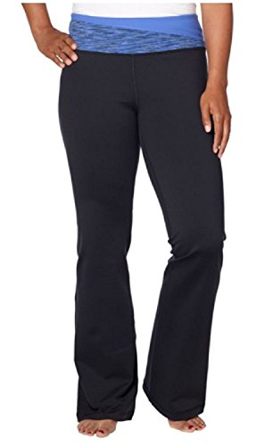 Kirkland Signature Women Mid-Rise Relaxed Leg Yoga Pants (black and blue, large)