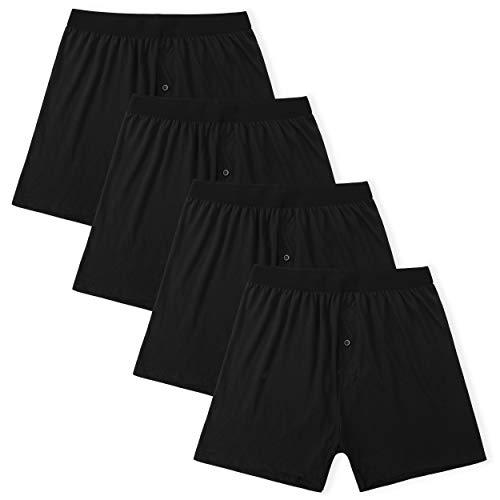 INNERSY Boxershorts Herren Baumwolle Atmungsaktive Unterwäsche Schwarz Unterhosen 4er Pack (XS, 4 Schwarz)