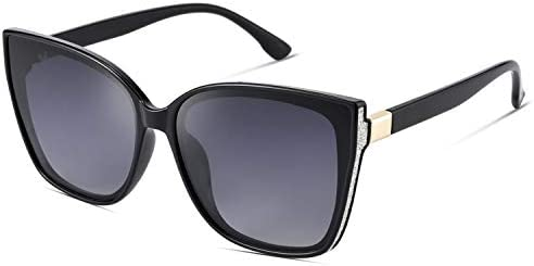 Mosanana Square Cateye Cat eye Polarized sunglasses for women oversized large big black retro product image