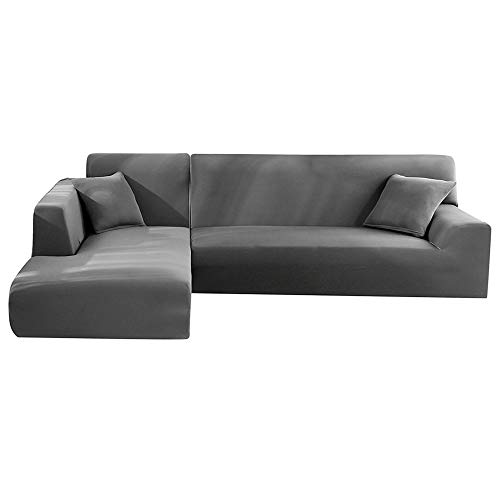 Enjoygoeu Copridivano con Penisola Elasticizzato a Forma di L Chaise Longue Sofa Cover Angolare Componibile Divano in Poliestere è Composto da 2 Pezzi,e con 2 Federe (Grigio, 2 posti + 2 posti)