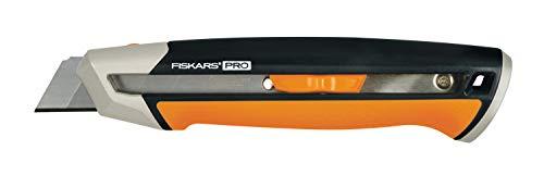Fiskars Cuttermesser, Länge 19,4 cm, Inklusive Klinge (25mm), Rostfreier Stahl/Kunststoff, Schwarz/Orange, CarbonMax, 1027228