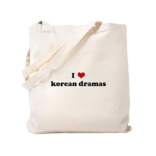 CafePress Tragetasche I Love Korean Dramas, canvas, khaki, S