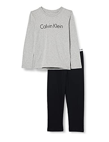 Calvin Klein chłopięcy Ls Knit Pj zestaw dwuczęściowy piżama, szary (Grey Heather W/Black 044), One Size (rozmiar producenta: 10-12)