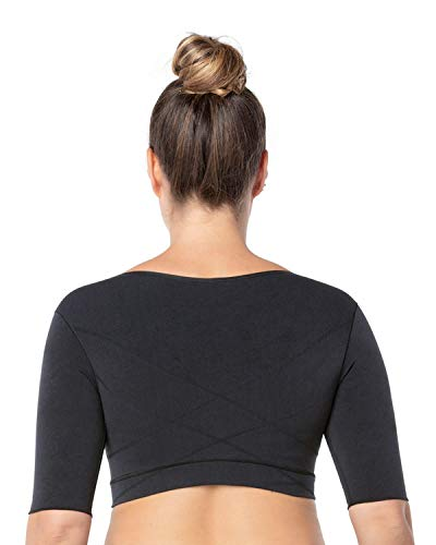 Leonisa Seamless Upper Arm Shaper Slimming Compression Vest with Posture Corrector, Black, X-Large
