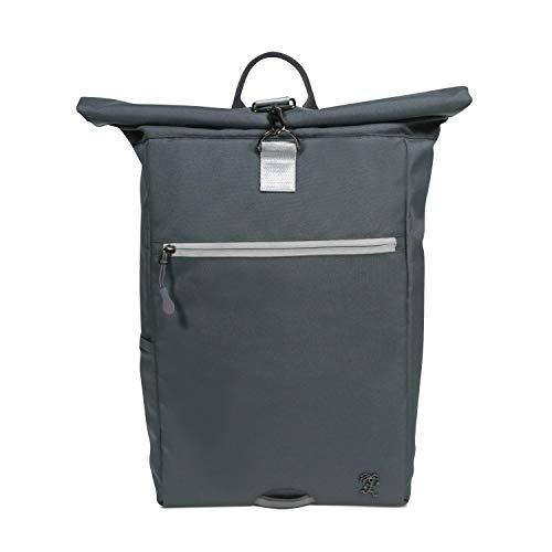 FUCHS & REBELL® Rolltop Rucksack PIET – aus recyceltem PET für Damen & Herren – Nachhaltig und funktional - Laptop Rucksack für den Alltag, Uni, Business, Schule Reisen, Fahrrad – 15-22 L (Dunkelgrau)