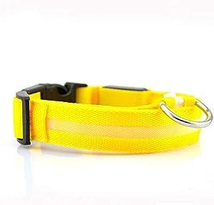 LED Nylon Pet Dog Collar Night Safety Light-up Flashing Glowing Collar, Fit Size 45-52cm - Yellow
