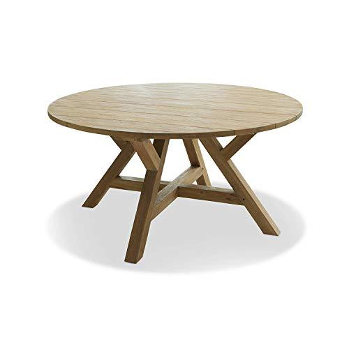 Loberon Tisch Farvindor, Teakholz, H/Ø 73/150 cm, antikbraun