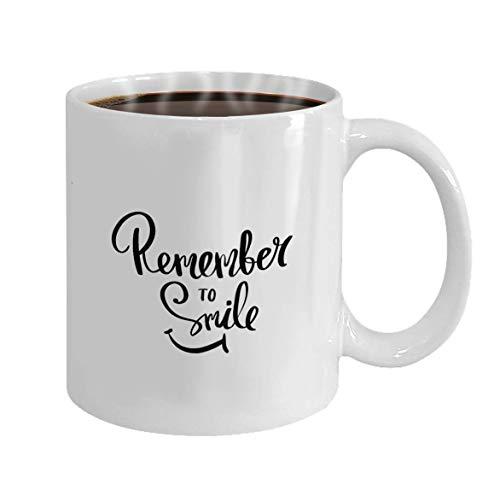 NA Tazza Personalizzata Tazza da caffè Calligrafia in Ceramica Bianca Ricorda di Sorridere Poster ispiratore con Scritte a Pennello