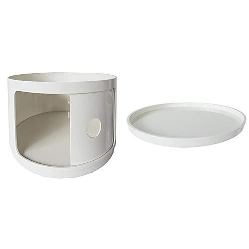 Kartell 495503 Baukastenelement Componibili rund undurchsichtig Durchmesser 42 x 38,5 cm ABS, weiß & 495903 Abschlüplatte für Baukastenelement Componibili rund undurchsichtig Durchmesser 42 x 2,9 cm