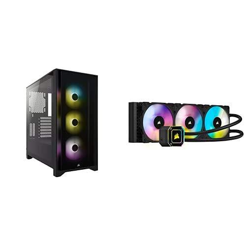 Corsair iCUE 4000X RGB Mid-Tower ATX PC Case - BlackCorsair iCUE H150i Elite Capellix Liquid CPU Cooler