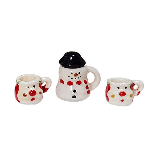 TOYANDONA 3pcs Miniature Snowman Coffee Mugs Cups Christmas Dollhouse Decoration Doll House Accessories Mini Christmas Decor Gift