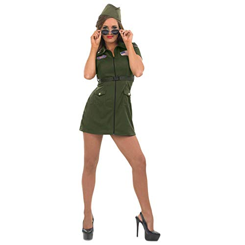 Womens Aviator Costume Adults 80s Movie US Military Pilot Dress - Small