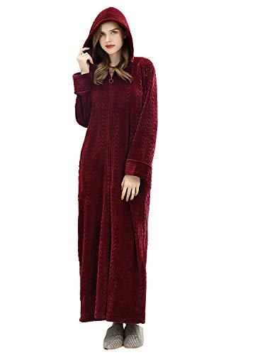 ZFSOCK Peignoir Femme Polaire à Capuche Hiver Robe de Chambre Fermeture à glissière Peignoir de Bain Longue Douce Microfibre Flanelle Robe de Nuit, Vin Rouge, L-XL