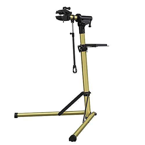 SONGMICS Cavalletto per Riparazione Bici, Supporto per Manutenzione Bicicletta in Alluminio, con Vassoio Porta Utensili Magnetico, Regolabile, Leggero, Portatile, Colore d'Oro Lucido SBR004A01