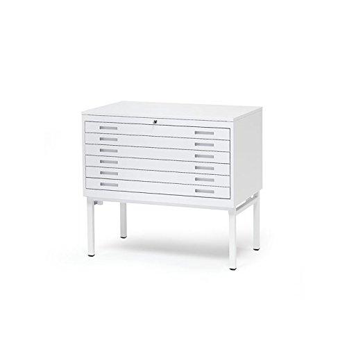 AJ Produkter AB 105734 Planschrank DIN A1 mit 6 Laden, Stahl Weiß, Top: Weiß