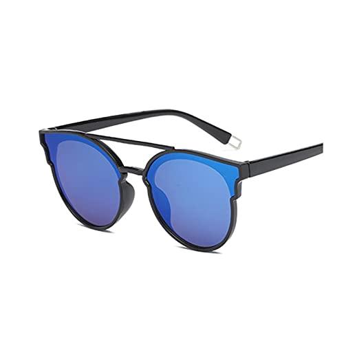 ZZDH Gafas de Sol Retro Espejo Gafas de Sol Mujeres Vintage uv400 Gafas de Sol Femeninas Regalo para Madres (Lenses Color : Blackblue)