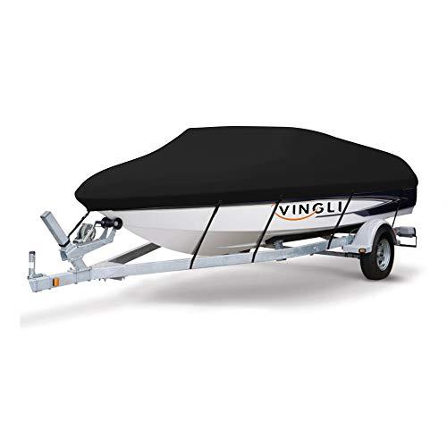 VINGLI Boat Cover Heavy Duty 600D Polyester Waterproof UV Resistant Marine Grade, Durable and Tear Proof, Fits 17-19 feet V-Hull, Tri-Hull Fishing Ski Pro-Style Bass Boats - Black