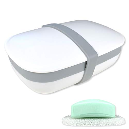 kiasona Travel Soap Box,soap Bar Holder Dish Container Case with Sponge saver Drain&Silicone Band,Strong Sealing,Leak Proof,Portable,Best for Bathroom,Shower,Gym,School,Camping,Hiking,Vacation,Outdoor