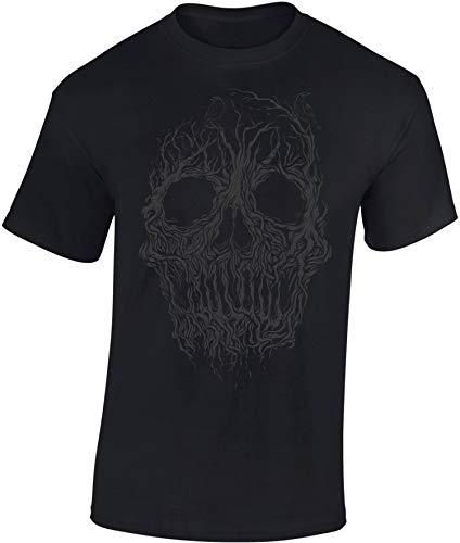 Camiseta: Tree Skull - Cráneo de Árbol - Fantasy T-Shirt - Regalo Hombre-s y Mujer-es - Fantasía - Sci-Fi Sciencia Ficción - Calavera - Zombi-e - Horror - Halloween - Árbol Selva Bosque (XXL)