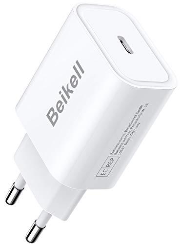 Beikell 20W Cargador USB C, Cargador Móvil USB C Power Delivery 3.0 Carga Rápida y USB QC 3.0 para iPhone 12/12 pro/12 pro max/11/11 pro max, iPad, Huawei, Xiaomi y Más