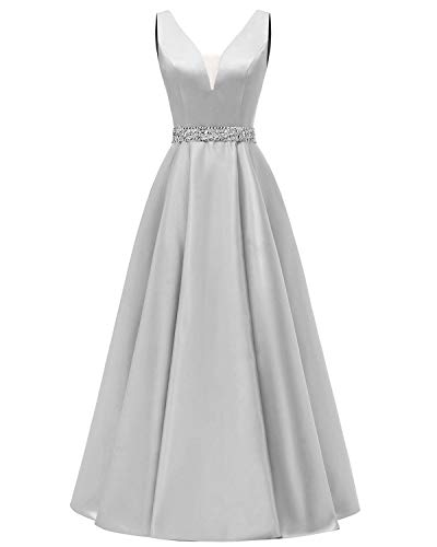 yinyyinhs Elegant V-Ausschnitt Perlen Lange Ballkleider Satin Abendkleider Formelle Kleider Partykleid Silber Größe 44