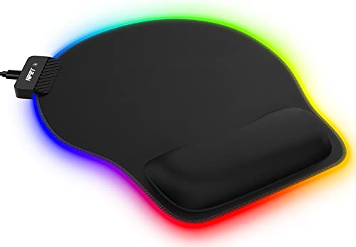 NPET MW10-01 Ergonomic RGB Gaming Mouse Pad with Wrist Rest, Comfortable Gel Mouse Mat with 14 Lighting Modes, Non-Slip Rubber Base, Pain Relief, Memory Foam for Laptop Computer PC Games, Black
