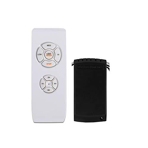 Kit de control remoto para ventilador de techo, tamaño pequeño, kit de receptor de control universal, velocidad, luz y temporizador, interruptor de control inalámbrico 3 en 1, color blanco