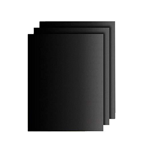 Alfombrilla de parrilla antiadherente, reutilizable, alfombrilla de cocción para parrilla eléctrica, gas, carbón, barbacoa, 3 unidades, color negro