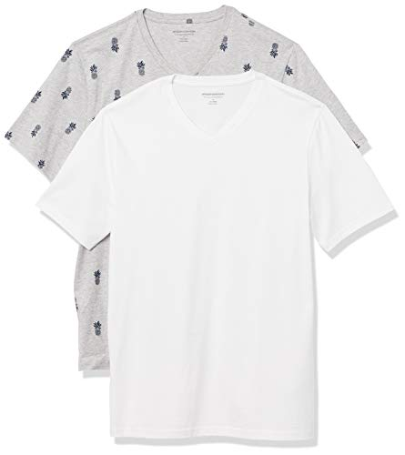 Amazon Essentials Camiseta Ajustada de Manga Corta con Cuello en V Hombre, Pack de 2