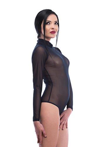Evoni Langarm-Damenbody in Schwarz   transparenter Tüll-Bodysuit mit Halbkragen   Basic-Body mit Langen Ärmeln   Größe L   Verschluss-Haken   schicker Unterzieh-Body für Frauen