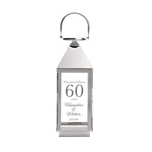 Casa Vivente Laterne aus Edelstahl mit Gravur zur Diamanten Hochzeit, Personalisiert mit Namen und Datum, Dekoration für Haus und Garten, Geschenkidee zum 60. Hochzeitstag