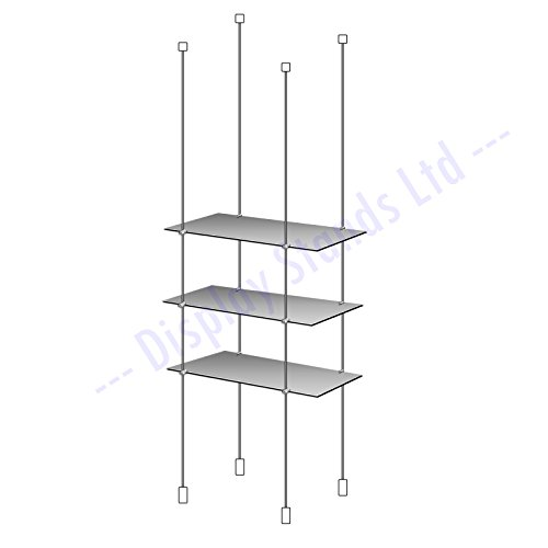 3X Acrylic Shelves Window & Cable Suspended Shelving Kit 600mm x 300mm (DS230/8)