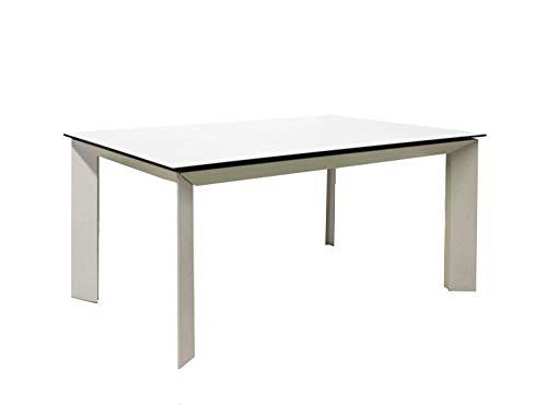 Meubletmoi - Mesa Extensible de Cristal y cerámica Blanca 140/230 cm - Marco de Metal - Diseño contemporáneo Mesa de Comedor Rectangular Robusta - Venus