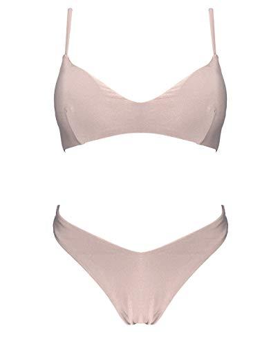 Damen-Bikini-Set mit Spaghettiträgern, zweiteilig, Glitzer-Badeanzug, XXS-M, italienisches Design Gr. S, H8187-Blassrosa