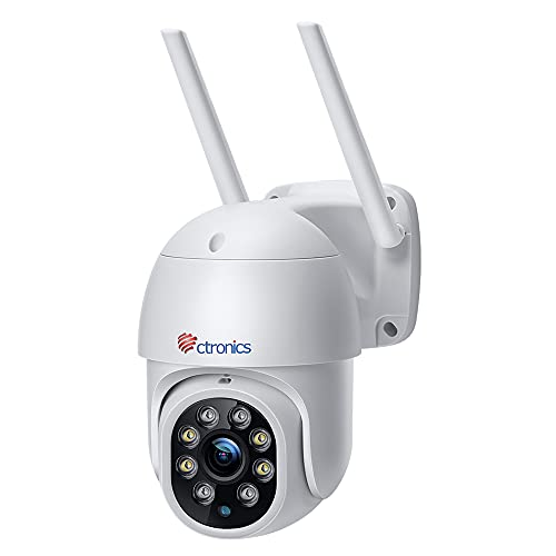 Ctronics PTZ Caméra de Surveillance WiFi Extérieure Caméra IP 1080P Détection Humaine Suivi Automatique Pan 355° Tilt 90° Audio Bidirectionnel Étanche IP66 Support P2P Slot Carte SD (Pas Zoom)