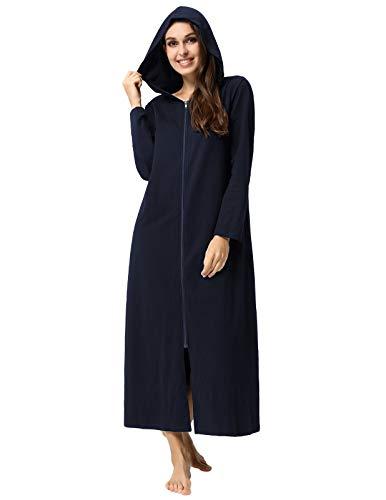 Zexxxy Damen Morgenmantel aus Baumwolle Bademantel Nachtwäsche Dunkel Blau S