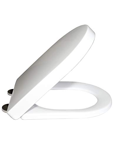 Lamachur Soft Close Toilet Seat, Ergonomic Design with Quick Release Stainless Steel Hinges, Dual Fixing System, White (Heavy Duty)