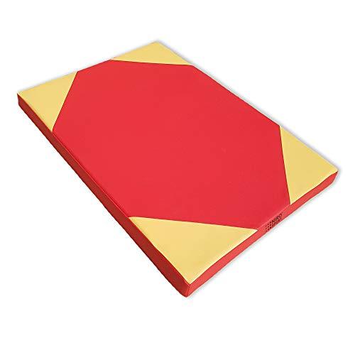 NiroSport Turnmatte Sportmatte 100 x 70 x 8 cm Trainingsmatte Weichbodenmatte Gymnastikmatte (Rot/Gelb)