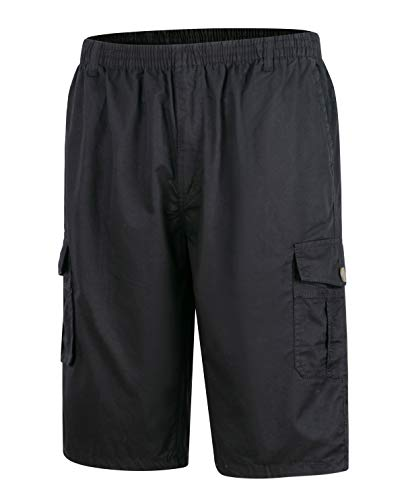"""KTWOLEN Cargo Shorts Cotone Bermuda da Uomo Cargo, Pantaloncini Corti con Tasconi Laterali (M (32""""-33""""), Nero)"""