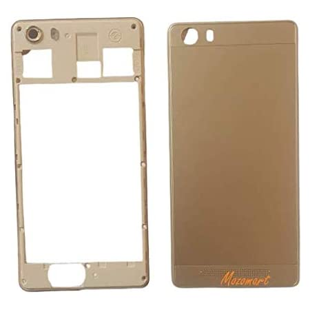 Mozomart Back Panel Body Housing with External Side Keys Compatible for Gionee M5 Lite Gold