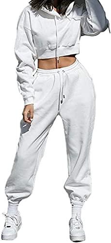 Siyova Conjunto de 2 piezas de mujer deportivo de color liso con capucha de manga larga + pantalones anchos con cordón en la cintura, Color blanco., M