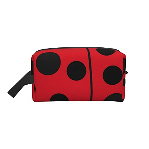 Bolsa de maquillaje Lady Bug Bolsa de viaje cosmética roja y negra Bolsa de aseo grande Organizador de bolsa de maquillaje portátil